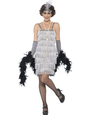 Sølv 20'er charleston kostume til kvinder
