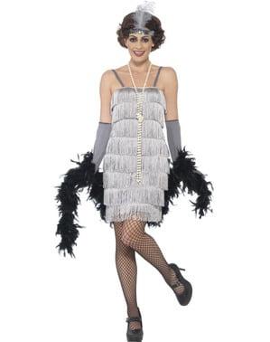 Sølvfarget 20-talls charleston kostyme for dame