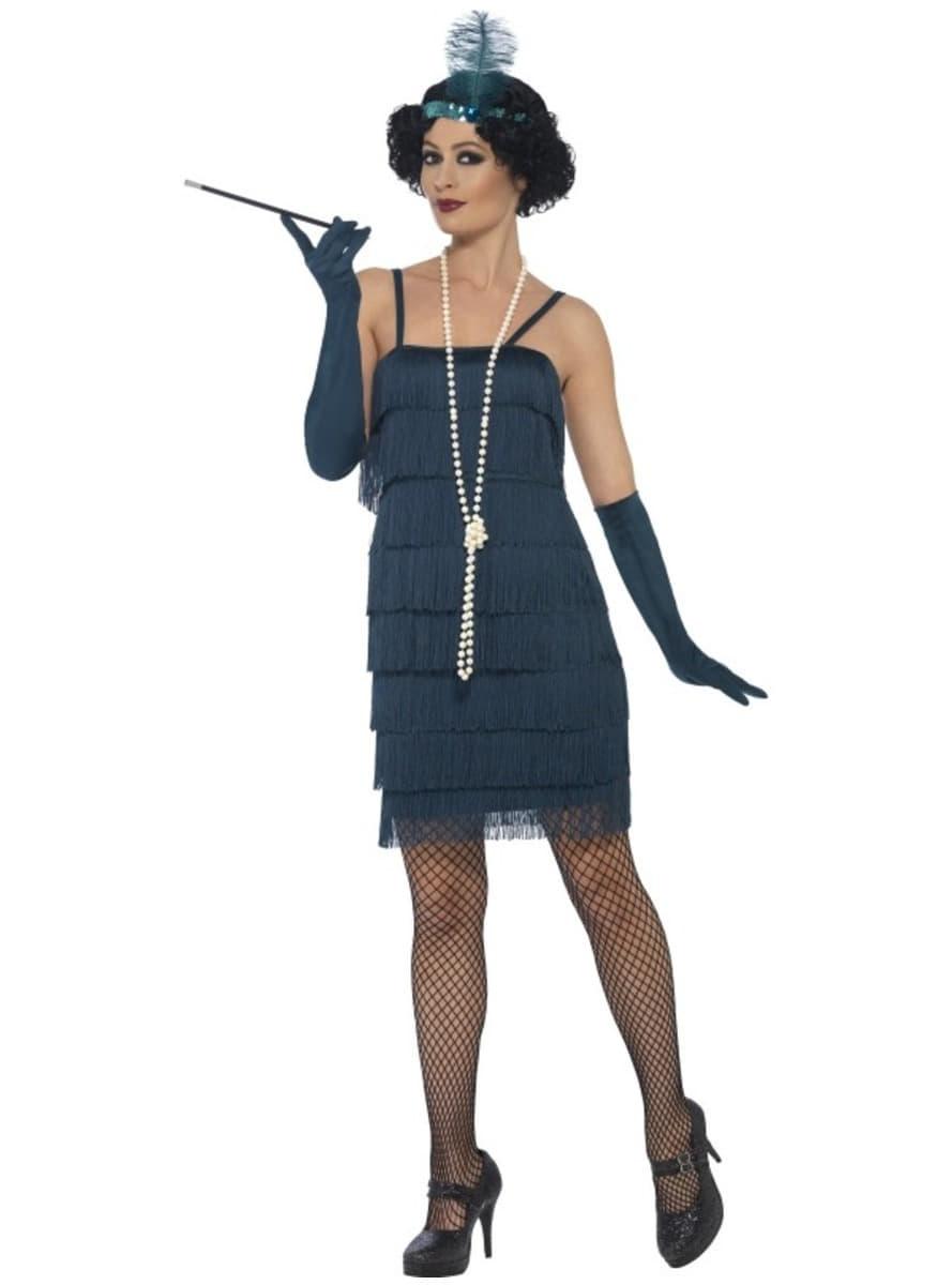 d guisement charleston ann es 20 bleu femme funidelia. Black Bedroom Furniture Sets. Home Design Ideas