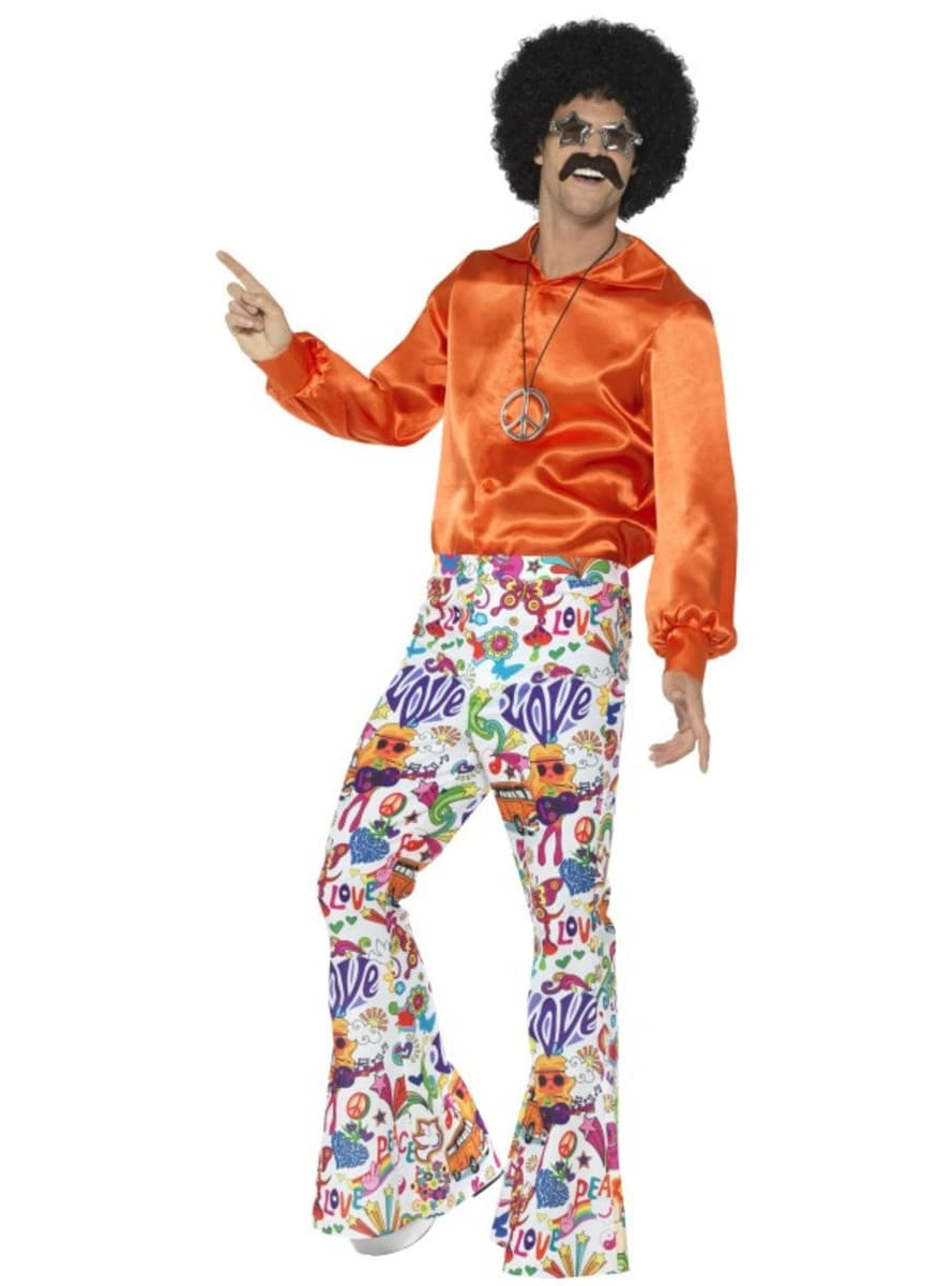 Funidelia men's colourful 70's trousers