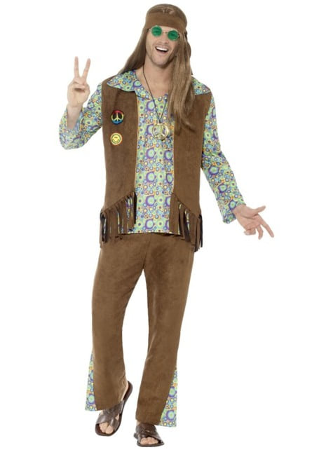 Psychedelic brown hippie costume for men