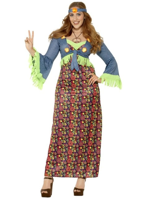 Women's large-size colourful hippy costume