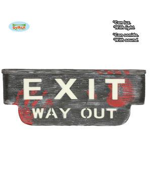 Exit Way Out -kyltti valolla ja äänellä