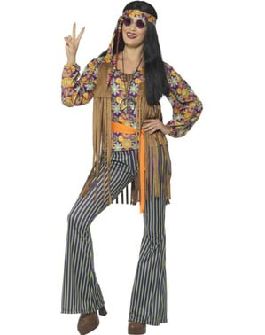 Maskeraddräkt hippie lycklig dam