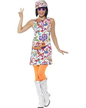 Fato de mulher dos anos 60 colorida para mulher