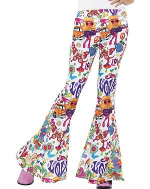Pantalones acampanado sesentero colorido para mujer