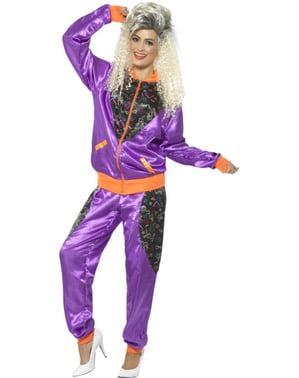 Retro 80's trainingspak kostuum voor vrouw
