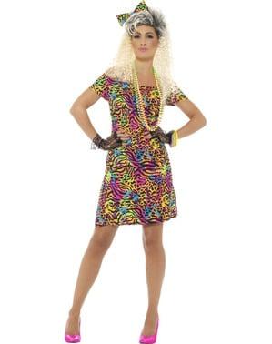 Flerfarvet 80er kostume til kvinder