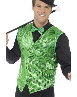 Green sequin waistcoat for men