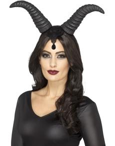 Zwarte horens haarband voor vrouwen