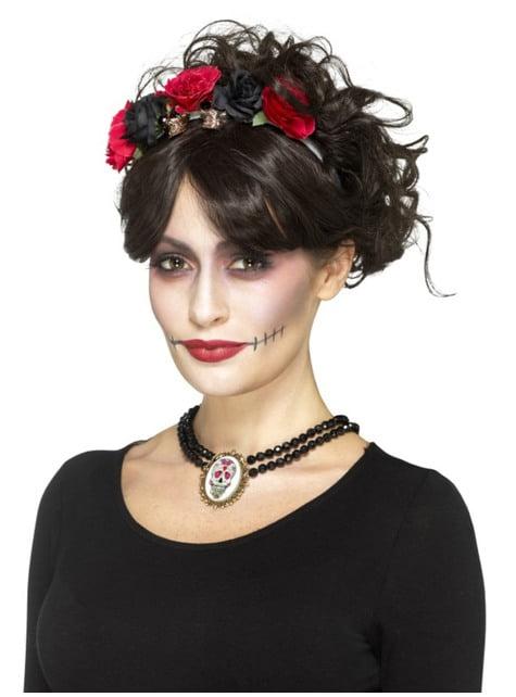 Gargantilla Catrina con flores rojas y negras para adulto