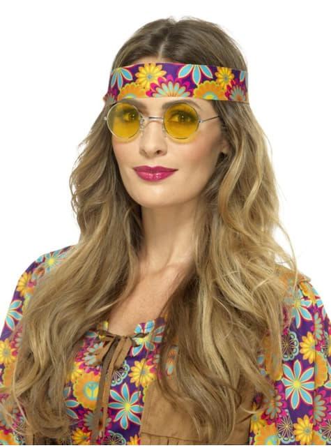 Gafas de hippie redondas amarillas para adulto