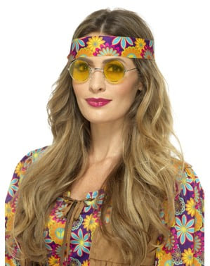 Ochelari de hippie rotunzi galbeni pentru adult