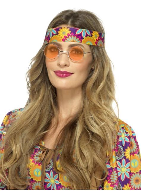 Πορτοκαλί στρογγυλά γυαλιά hippie για ενήλικες