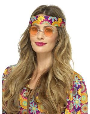 Óculos de hippie redondos cor de laranja para adulto