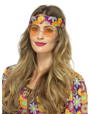 Runde orangefarbene Brille Hippie für Erwachsene