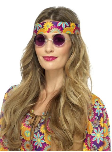 Gafas de hippie redondas moradas para adulto