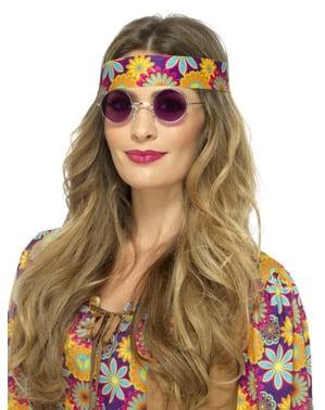 Paarse ronde hippie bril voor volwassenen