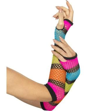 Flerfargete nettings fingerløse hansker for voksne