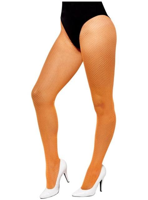 Women's neon orange fishnet tights
