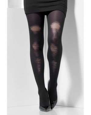 Women's black distressed tights