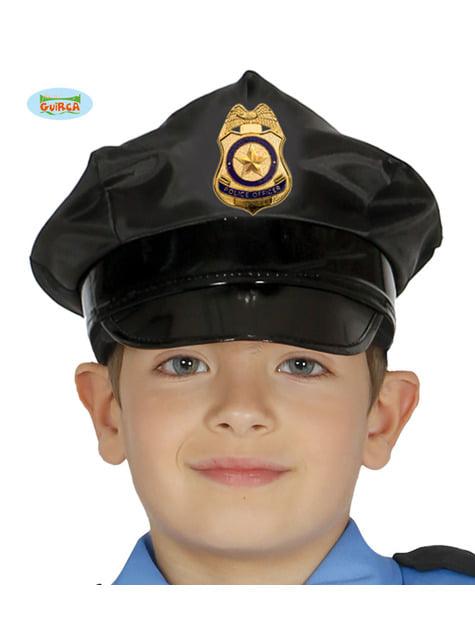Gorra de policía negro infantil