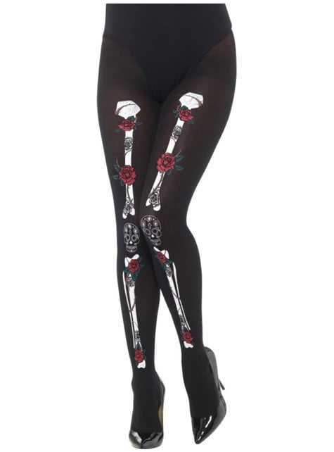 Day of the Dead Skeleton Tights for Women