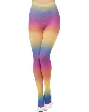 Flerfargete hippie tights for damer