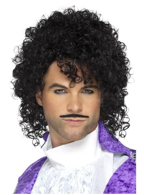 Peluca de cantante Purple príncipe con bigote para hombre