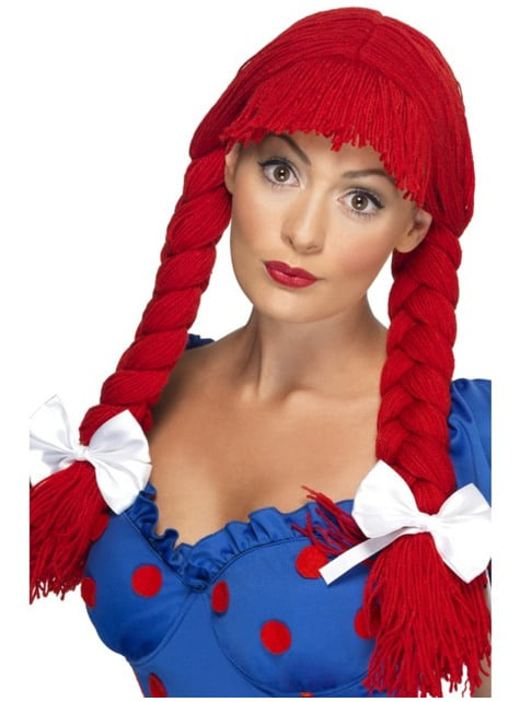 Women's red ragdoll wig with plaits and bows