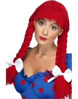 Peruca de boneca de trapo vermelha com tranças e laço para mulher