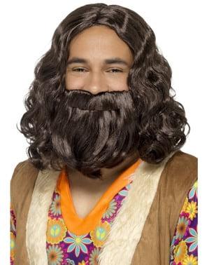 Kastanjefarget parykk med skjegg og Jesus sett for menn