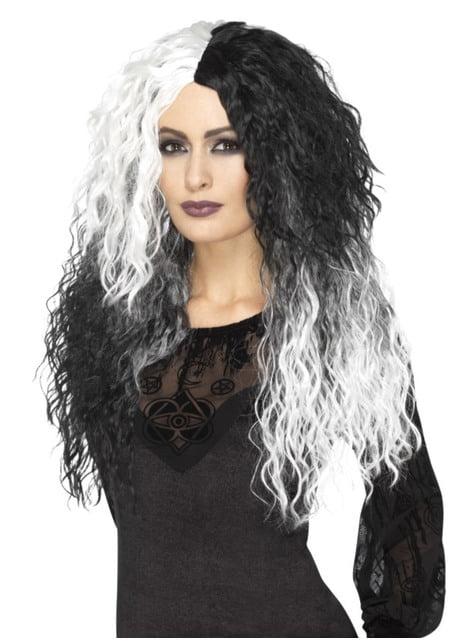Peluca Cruela blanca y negra rizada larga para mujer