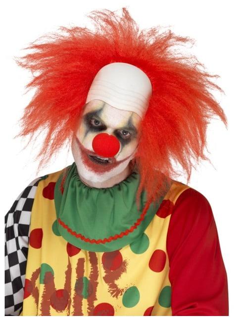 Perruque clown chauve rouge et raide homme
