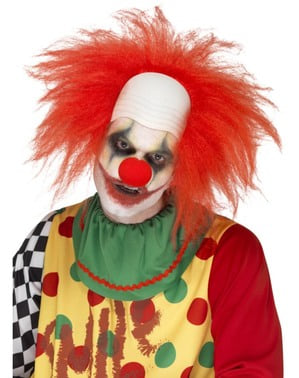 Men's straight red clown wig with bald spot