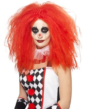 Women's voluptuous red Harlequin wig