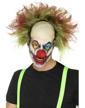 Men's bloodstained clown wig with bald spot