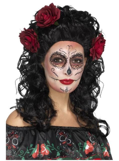 Peluca Catrina morena rizada con flores para mujer
