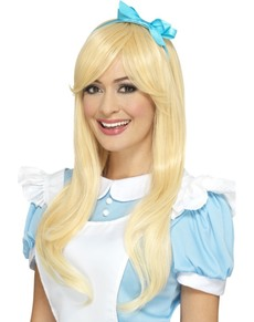 Women's blonde Alicia wig with blue ribbon