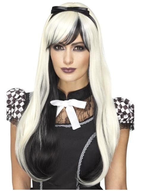 Peluca de Alicia gótica con cinta negra para mujer