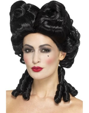 Дамска черна барокова перука