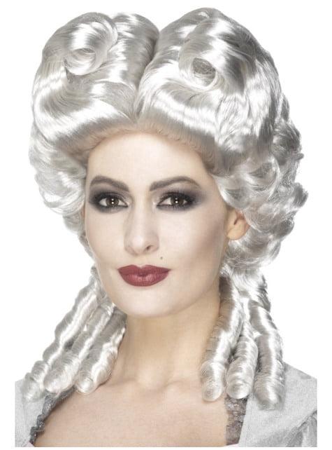 Peluca barroca blanca para mujer