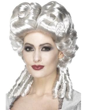 Zilveren pruik in barokstijl voor vrouwen