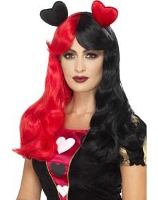 Peluca de reina de corazones roja y negra con corazones para mujer
