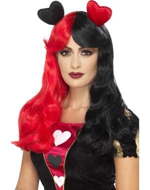 Perruque reine de cœurs rouge et noire avec cœurs femme