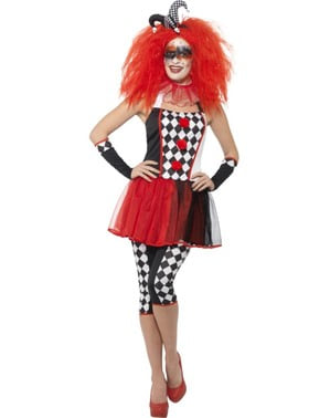 Düsteres Harlekin Kostüm für Damen