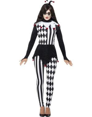 エレガントな女性用黒と白のハーレクイン衣装