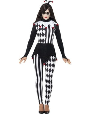 Maskeraddräkt harlequin elegant svartvit dam