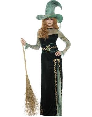 Fato de bruxa de campo para mulher