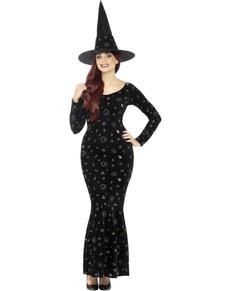 Disfraz de bruja mágica negra para mujer